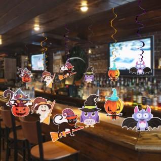 Cartoon Spooky Spiral Pendant Halloween Party Paper Decoration