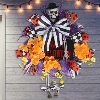 Halloween Skeleton Door Hanging Simulation Wreath Decoration for Supplies Horror Party