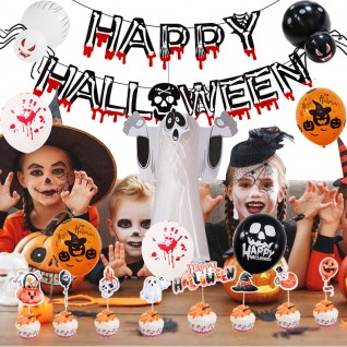 Halloween Balloon Decoration With Paper Banner