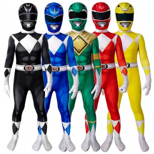 Power Ranger Cosplay Costumes Mighty Morphin Power Rangers Cosplay Suit for Kids