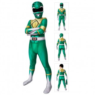 Kids Power Ranger Cosplay Costumes Green Mighty Morphin Power Rangers Suit
