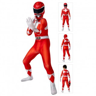 Power Ranger Costume Red Mighty Morphin Power Rangers Cosplay Suit for Kids