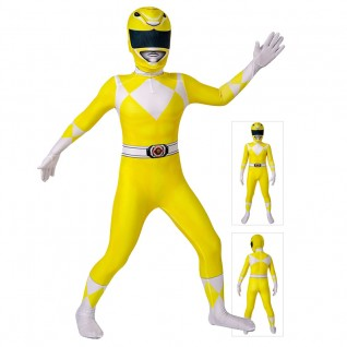 Kids Power Ranger Cosplay Costume Yellow Mighty Morphin Power Rangers Suit