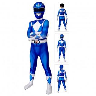 Kids Power Ranger Blue Costume Mighty Morphin Power Rangers Cosplay Suit