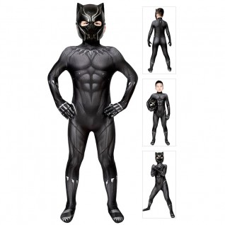 Kids Black Panther Cosplay Costume T'Challa Jumpsuit