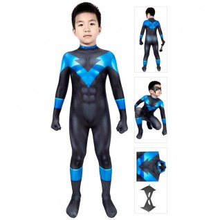Kids Batman Under The Red Hood Nightwing Cosplay Suit Richard Grayson Jumpsuit