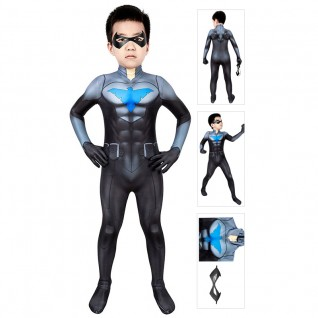 Kids Son Of Batman Cosplay Costume Nightwing Jumpsuit