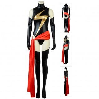 Captain Marvel Cosplay Costume Carol Danvers Black Thunder Logo Jumpsuit