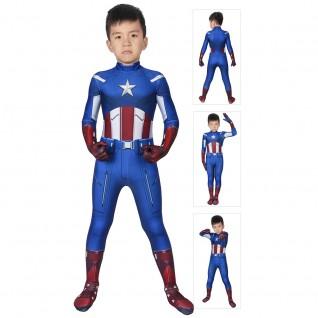 Steve Rogers Costume Avengers 1 Captain America Jumpsuit For Kids