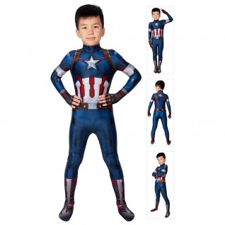 Captain America Steve Rogers Costume Avengers 2 Austrian Age Cosplay Jumpsuits For Kids