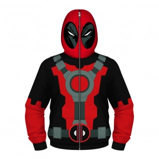 Kids Deadpool Hoodie Zip Up Long Sleeve Sweatshirt