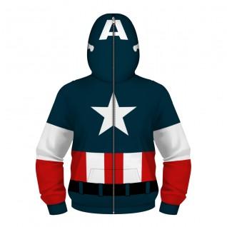 Kids Captain America Zip Up Long Sleeve Hoodie