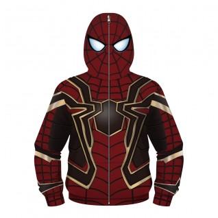 Kids Iron Spider Armor Zip Up Hoodie Spider-Man Sweatshirt