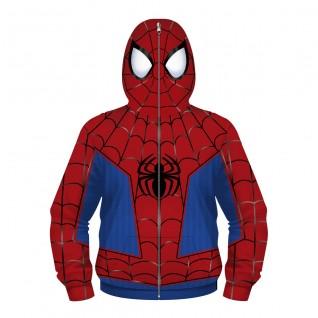 Kids Spiderman Zip Up Hoodie Long Sleeve Sweatshirt