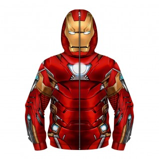 Kids Iron Man Fashion Zip Up Hoodie 3D Printed Pattern Long Sleeve Sweatshirt