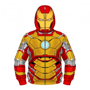 Kids Iron Man Zip Up Sweatshirt 3D Printed Pattern Fashion Long Sleeve Hoodie