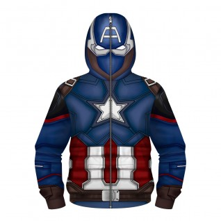 Kids Captain America Zip Up Hoodie 3D Printed Pattern Long Sleeve Sweatshirt
