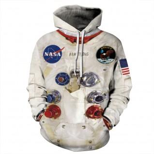 Long Sleeve Nasa Astronaut Hoodie 3D Print Pattern Space Sweatshirt