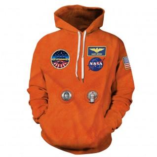 Orange Nasa Astronaut Hoodie 3D Print NASA Pattern Long Sleeve Sweatshirt