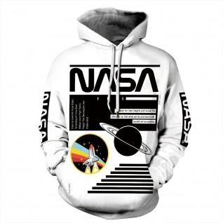 White Nasa Astronaut Hoodie 3D Print NASA Pattern Long Sleeve Sweatshirt
