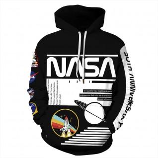 Black Nasa Astronaut Hoodie 3D Print NASA Pattern Long Sleeve Sweatshirt