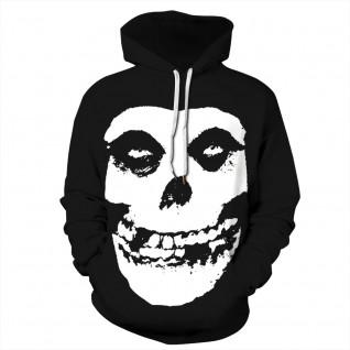 Black Skull Hoodie 3D Print Pattern Halloween Sweatshirt