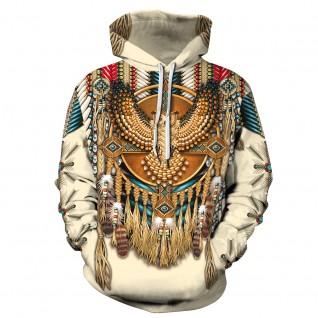 Fashion American Indian Sweatshirt Owl 3D Print Pattern Long Sleeve Hoodie