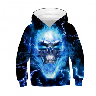 Kids Skull Halloween Hoodie Daily Going Out Skull Pattern Sweatshirt