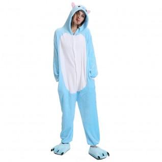 Blue Cat Kigurumi Animal Onesie Pajama Costumes for Adult