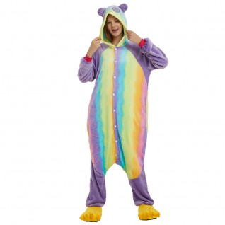 Colorful Kung Fu Panda Kigurumi Animal Onesie Pajama Costumes for Adult