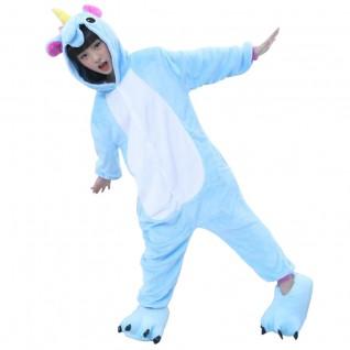 Kids Kigurumi Blue Unicorn Animal Kids Onesies Pajamas