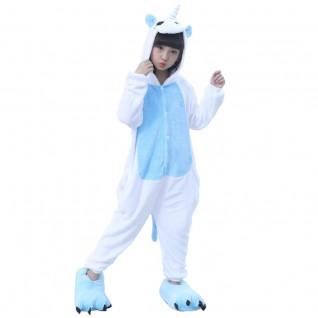 Kids Unicorn Blue Kigurumi Onesies Animal Costume Pajamas