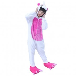Kids Onesies Unicorn Rose Red Kigurumi Animal Pajamas Costumes