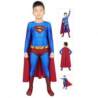 Superman Returns Cosplay Costume Kids Superman Clark Kent Jumpsuit