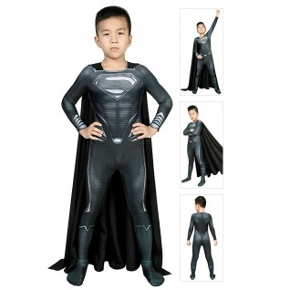 Black Superman Costume for Kids Justice League Clark Kent Superman Cosplay Suits