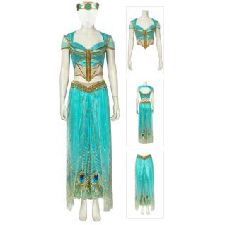 Aladdin Princess Dress Jasmine Princess Cosplay Costume Deluxe Version