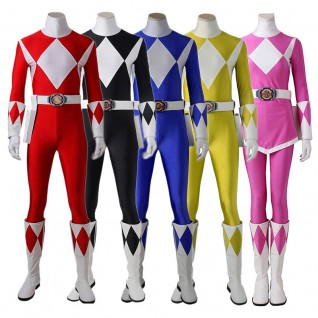 Power Rangers Costume Mighty Morphin Cosplay Suits Deluxe Version