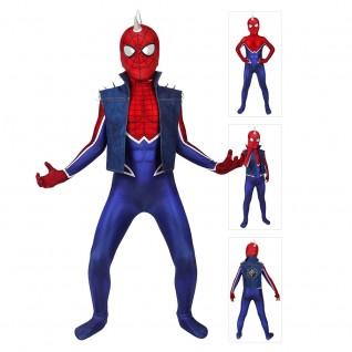 Kids Spider Punk Suit for PS4 Spiderman Cosplay Costume